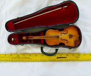 Miniature Violin With Bow In Case Perfect Copy Must See This Lowered Start