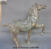 Antique Chinese Dynasty Fengshui Bronze Ware Silver Animal Horse Warhorse Statue