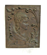 Scarce Foster Brothers Boston Antique Hand Carved Woman Wood Art Plaque 14 X 11