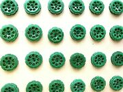 Vintage Buttons - 24 Forest Green 2-hole Honeycomb 5/8 Casein Buttons - France