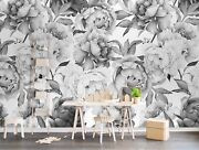 Charcoal Flower Monochrome Peony Removable Textile Wallpaper