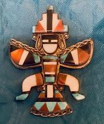 Zuni Knifewing Pin Attr. Teddy Weahkee Mosaic Inlay Pipestone1940s-1950s