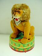 Vintage Circus Lion Battery Operated Tin Toy Rock Valley Toys Japan - Works L@@k
