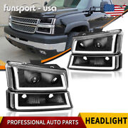 For 2003-2006 Chevy Silverado Black/clear Projector Headlight/lamp W/ Led Drl Us