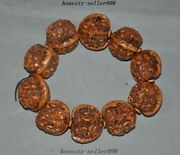 Collect Rare Old Walnut Nuclear Carved Golden Toad Health Care Bracelets Antique