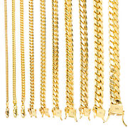 14k Yellow Gold Solid 2.7mm-11mm Miami Cuban Chain Link Necklace Bracelet 7-30