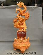25 Dynasty Palace Fengshui Bronze 24k Gold Inlay Cat's Eye Stone Dragon Statue