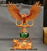 22old Dynasty Fengshui Bronze 24k Gold Inlay Catand039s Eye Stone Eagle Beast Statue