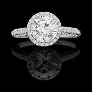 Real Diamond Round Cut 1.30 Ct Womenand039s Engagement 950 Platinum Ring Size 5 6 7.5