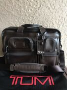 💼 Rare Tumi Aplha 2 Expandable Brown Leather Briefcase Laptop Bag Carry On 595