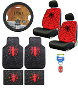New 10pc Spider-man Car Floor Mats Seat Covers Steering Wheel Cover And Keychain