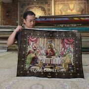 Yilong 2.5and039x3and039 Handknotted Silk Tapestry Last Supper Religious Carpet Z300a
