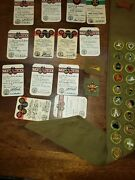 Vintage 40's Scout Sash 21 Badges And Cards