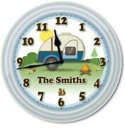 Camper Wall Clock - Teardrop Travel Trailer Rv Camping Kit Campground Park Gift