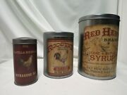 Lot Of 3 Country/rooster Metal Tins/ Canistersohio Wholesalesfood Safe