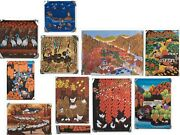 Collection Of Vintage Chinese Folk Art Screen Prints On Paper, Signed Nice