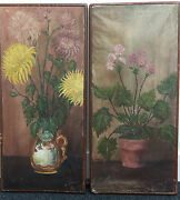 Pair Of Paintings 1919 - H.michel - Painting Oil On Canvas - Bouquets Flowers