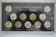 1942-1945 Us Wartime 11 Coin P D And S Silver Jefferson Nickels Unc Set - Sealed