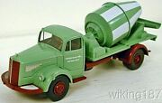 Wiking New Ho 1/87 Mercedes Benz 2-axle Cement Mixer Truck In Green White And Red