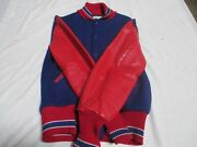Centralia Letter Jacket Royal With Red Sleeves With Ryl/wht/red Trim