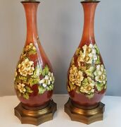 Monumental Doulton Lambeth Faience Mary Butterton Floral Vases Mounted As Lamps