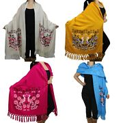 Mexican Rebozo Floral Birds Shawl Rug Blanket Pareo Wrap Sweater