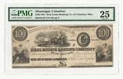 Rare 1837 100 Real Estate Banking Co. Of Columbus Ms Obsolete Note Pmg 25
