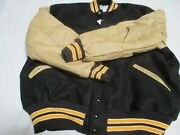 Centralia Adult Blk W Cream Sleeves 2 Gld Stripes Outline In Wht Nyl Line Jacket