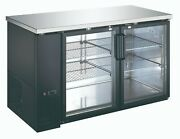 Back Bar Cooler Commercial Fridge Stainless Steel Drink Cooler 2 Door 4 Shelves
