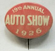 1926 19th Annual Auto Show Believed St. Louis Oval Pinback Button