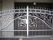 New, Solid Wrought Iron Driveway Swing Gate And Pedestrian Gate Hand Made