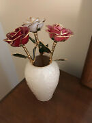 Three 24kt Gold Roses With Gold Trim Lenox Vase