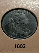 1802 Draped Bust Large Cent 1c 1/000 S-228 R2 Ch Vf+ Beautiful And Rare Coin