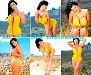 Denise Milani - All 10x8 Inch Photograph's M115 In Low Cut Yellow Jumpsuit