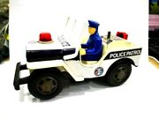 1970s Japan Vintage T.n Nomura Police Jeep Touch Control Tin Toy Fs Ems