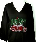 Large Knit Top Embellished All Rhinestone Red Wagon W/christmas Tree And Cardinal
