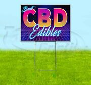 Cbd Best Edibles Yard Sign Corrugated Plastic Bandit Lawn Decoration Usa 80and039s
