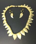 Arts And Crafts Movement Carved Pearl Necklace Screw Back Earrings Jewelry Antique