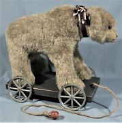 Vintage Collectible Childs Pull Toy Hand Crafted Bear Mounted On Wood W/wheels