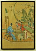 Antique Chinese Artist Signed Painting On Silk,go Players,19thc