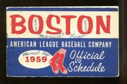 1959 Boston Red Sox Pocket Schedule Booklet 2x4.5 Inches 54697