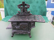 Vintage 12 Tall 13 Wide Larger Size Cast Iron Crescent Toy Stove
