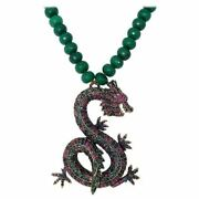 Heidi Daus Sublime Pave Serpent Green Crystal Bead Necklace, Oversized Pendant