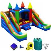 Pogo Rainbow Blow Up Inflatable Wet Bounce House Combo Double Water Slide Pool
