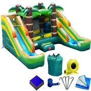 Pogo Tropical Inflatable Bounce House Combo Double Water Slide Pool With Blower