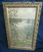 Signed Listed Artist W. J. Alberts Oil On Canvas Painting Lily Pads On A Pond