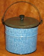 Antique Graniteware Blue And White Pattern Pail W/wire Handle Tin Lid W/wood Knob