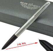 Hero 100 Series 14k Gold Fountain Pen Noble Silver Ink Pen With Gift Box