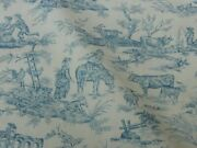 18.5y Scalamandre Old World Weavers Toile Blue White French Pasture Msrp392/y