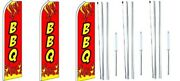Bbq Red Swooper Flag With Complete Hybrid Pole Set- 3 Pack